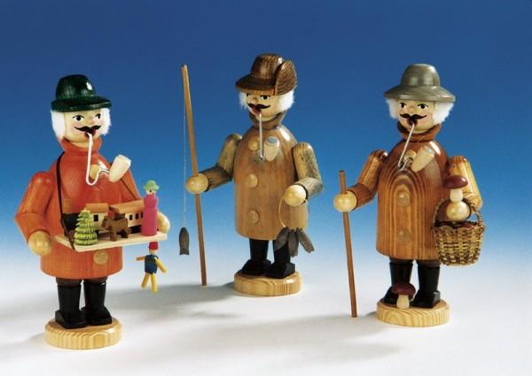 Räuchermann Angler, Spielzeughändler, Pilzsucher, 3 Stück, 19 cm, Knuth Neuber Seiffen/ Erzgebirge