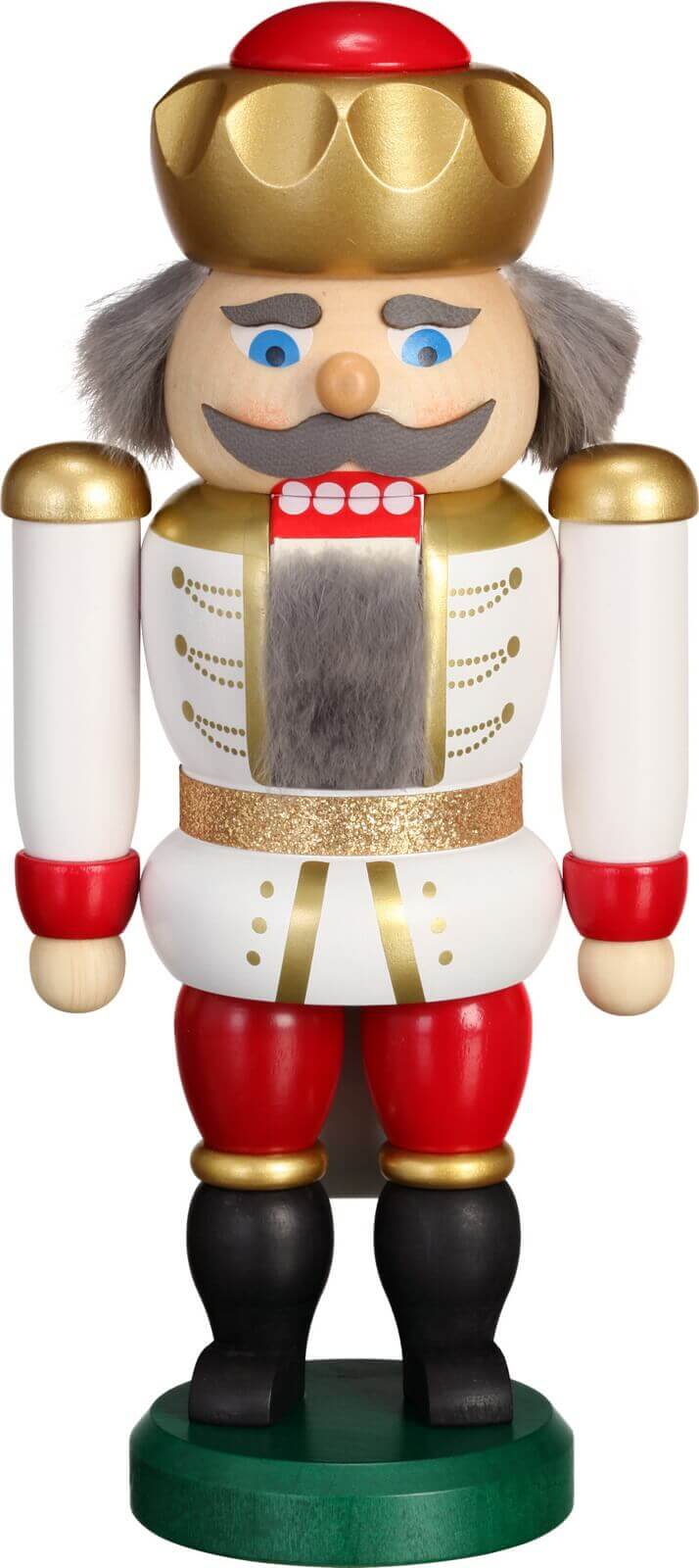 Hier erscheint Ihre Majestät der Nussknacker Exklusiv König in weiss-rot, 20 cm von der Seiffener Volkskunst eG Seiffen/ Erzgebirge. Dienten früher die …