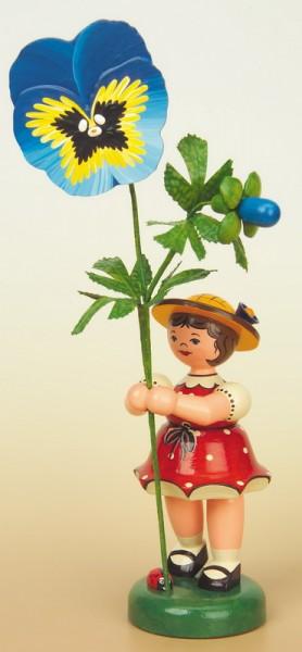 Blumenkind Mädchen mit Stiefmütterchen, 24 cm von Hubrig Volkskunst GmbH Zschorlau/ Erzgebirge
