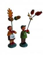 Vorschau: Blumenkinder - Herbstpärchen, handbemalt, 12 cm von WEHA-Kunst Dippoldiswalde/ Erzgebirge