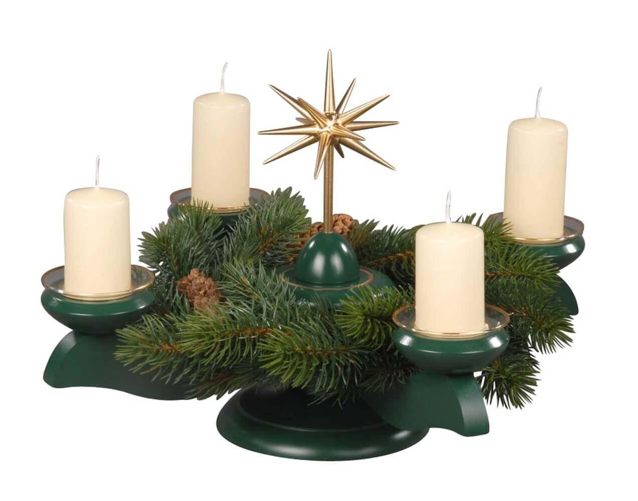 Albin Preißler Adventsleuchter mit Weihnachtsstern und Tannenkranz, grün