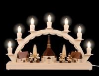 Vorschau: Schwibbogen von Nestler-Seiffen mit dem Motiv kleines Seiffener Dorf mit Thiel Kinder_Bild2