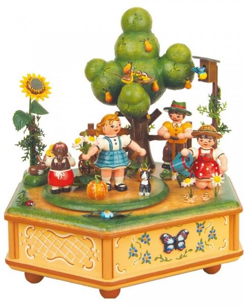 Spieluhr & Spieldose Unser kleiner Garten, 20 cm hoch von Hubrig Volkskunst GmbH Zschorlau/ Erzgebirge. Bei dieser Spieluhr kann man eine von 3 …
