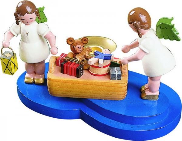 Weihnachtsengel mit Spielzeugkorb, 9 cm, Richard Glässer GmbH Seiffen/ Erzgebirge