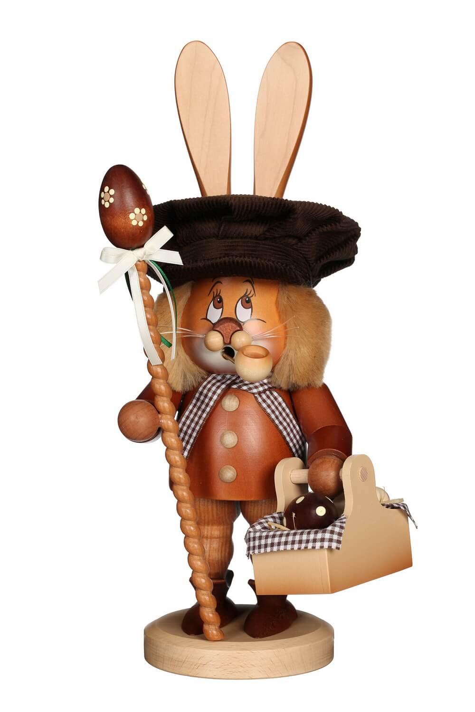Räuchermännchen Wichtel Hase mit Eierkorb und dem niedlichen Gesicht von Christian Ulbricht GmbH & Co KG Seiffen/ Erzgebirge ist 36 cm groß. Mit seinem …