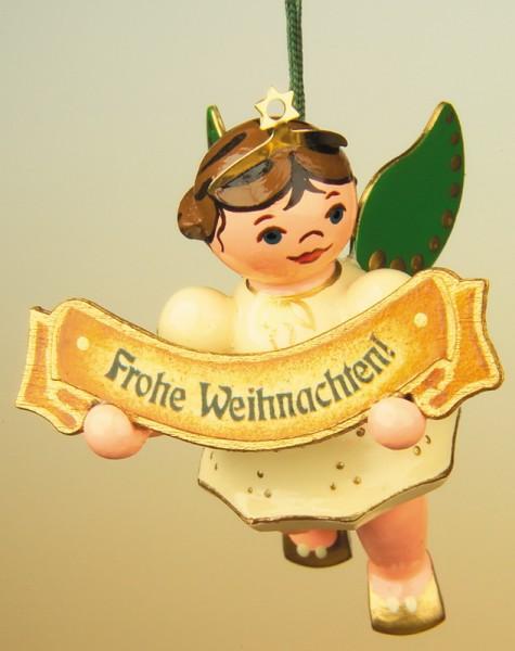 Baumbehang & Christbaumschmuck Weihnachtsengel - Frohe Weihnacht, 6 cm, Hubrig Volkskunst GmbH Zschorlau/ Erzgebirge