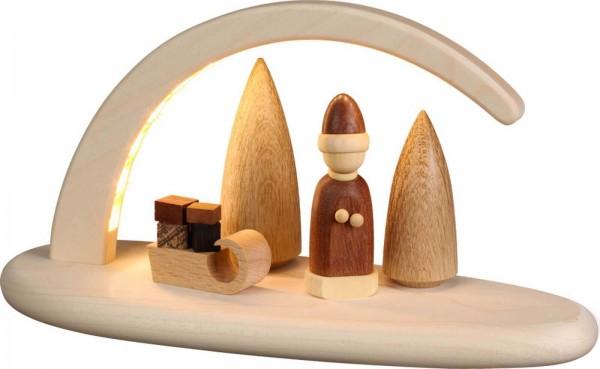 LED Schwibbogen, natur mit Weihnachtsmann und Schlitten von Seiffener Volkskunst eG