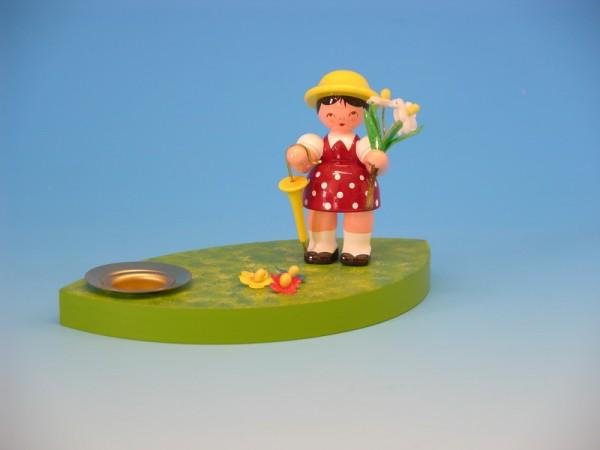 Kerzenhalter Blumenkinder Mädchen, grün, 7,0 cm von Frieder & André Uhlig Seiffen/ Erzgebirge