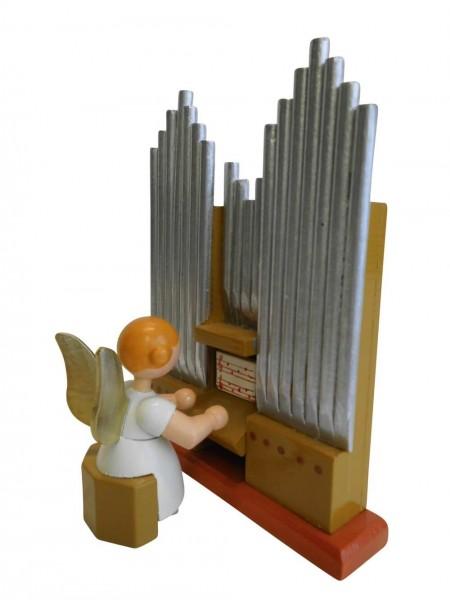 Weihnachtsengel mit Orgel, braun, 12 cm von WEHA-Kunst Dippoldiswalde/ Erzgebirge