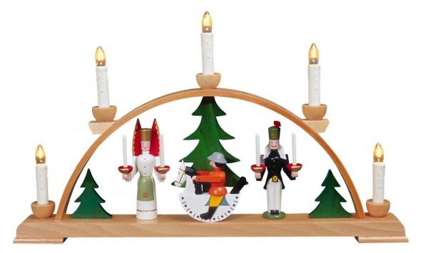 Eckert, Schwibbogen Seiffener Motiv mit weißen Kerzen