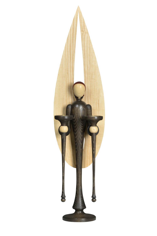 Weihnachtsengel groß, Esche - Farbton Mooreiche gebeizt, Weihnachtsengel aus Holz, 105 cm von KWO Kunstgewerbe-Werkstätten Olbernhau/ Erzgebirge