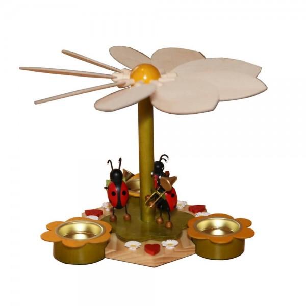 Teelichtpyramide mit Käfermusikanten, 19 cm von Volker Zenker aus Seiffen