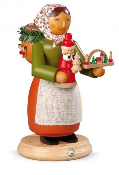 Räuchermann Holzspielzeugverkäuferin aus Holz von Müller Kleinkunst aus Seiffen
