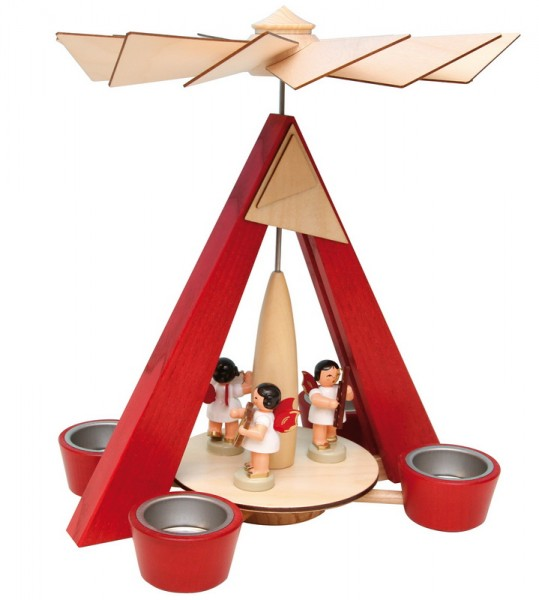 Weihnachtspyramide mit 3 Engeln und rote Flügeln, 27 cm, Frieder & André Uhlig Seiffen/ Erzgebirge