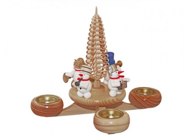 Adventsleuchter mit Schneemänner, 23 cm, für Teelichter von Volker Zenker aus Seiffen