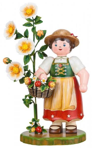 großes Blumenmädchen mit Erdbeeren aus Holz aus der Serie Hubrig Landidyll
