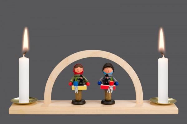 mini-Schwibbogen Striezelkinder (5 cm), 23 x 8,5 x 4,2 cm, Nestler-Seiffen.com OHG Seiffen/ Erzgebirge