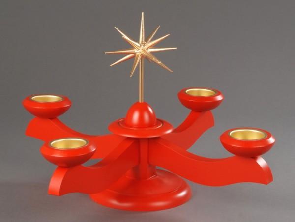 Adventsleuchter, rot - Weihnachtsstern, Adventsleuchter aus massivem Buchenholz, rot lackiert, Stern in Handarbeit gefertigt, bronzefarbig lackiert, …