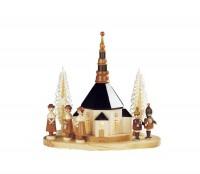 Vorschau: Knuth Neuber, Sockelbrett Kirche mit großer Kurrende und Laternenkindern