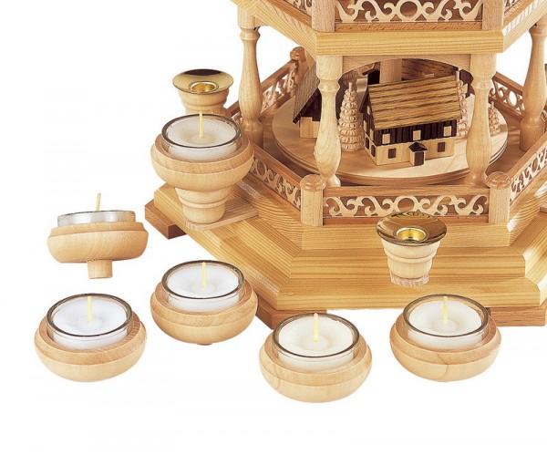 Kerzenhalteraufsatz für Teelichter, 6 Stück inklusive Teelichter in Glasschale, Müller GmbH Kleinkunst aus dem Erzgebirge