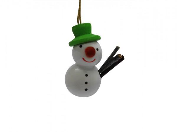 Baumbehang & Christbaumschmuck Schneemann mit grünem Hut, 3 cm, von Nestler aus Seiffen/ Erzgebirge