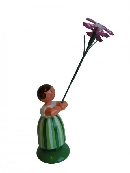 Blumenkinder - Feld- und Wiesenblumenkind Mädchen mit Wiesennelke, 11 cm von WEHA-Kunst Dippoldiswalde/ Erzgebirge