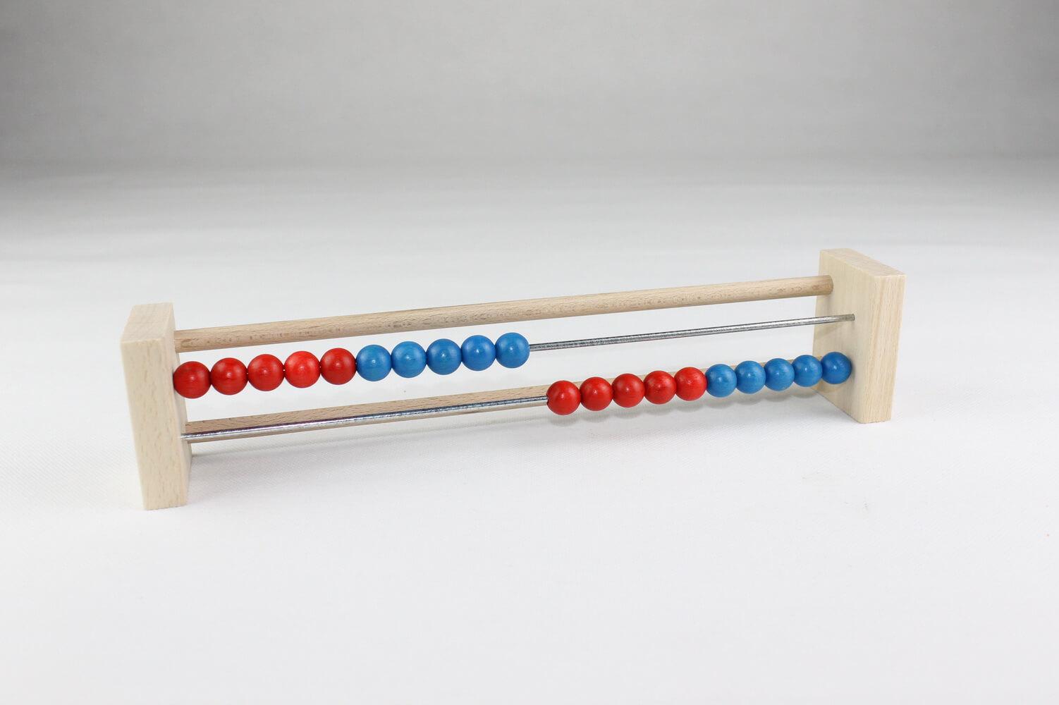 Abacus Schülerrechenrahmen 20 Kugeln aus Holz, 29 x 6 cm, Spielalter ab 3 Jahre, Erzgebirgische Holzspielwaren Ebert GmbH Olbernhau/ Erzgebirge