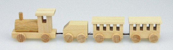 Mini - Holzeisenbahn, natur, 11,5 cm, Stephan Kaden holz.kunst Seiffen/Erzgebirge