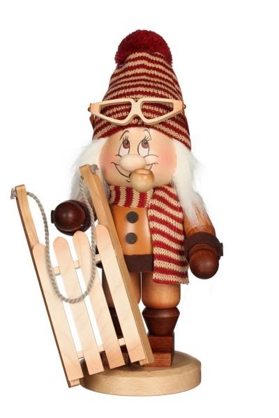 Räuchermännchen Wichtel Rodler, mit der typischen Knubbelnase und dem freundlichen Gesicht von Christian Ulbricht GmbH & Co KG Seiffen/ Erzgebirge ist …