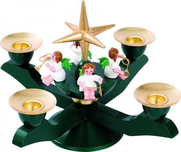 Adventsleuchter mit Weihnachtsengeln, grün, 12 cm, von Richard Glässer GmbH aus Seiffen/ Erzgebirge