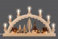 Vorschau: Schwibbogen von Nestler-Seiffen mit dem Motiv Seiffener Dorf mit Romy Thiel Kinder, komplett elektrisch beleuchtet_Bild3