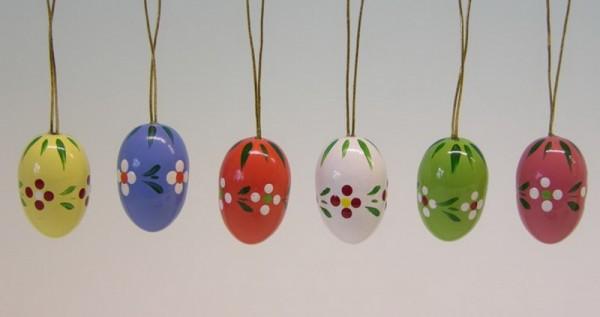Ostereier mit Punkten und Blumen, 6 Stück, handbemalt, 6 verschiedene Farben im Satz, 2,1 cm, Frieder & André Uhlig Seiffen/ Erzgebirge