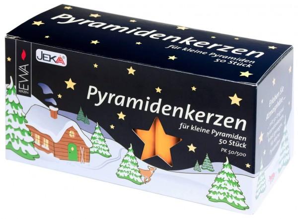 EWA Pyramidenkerzen 50 Stück gelb für Weihnachtspyramiden