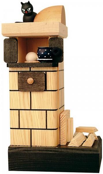 KWO Räuchermännchen Kachelofen mit Holz und Katze aus dem Erzgebirge