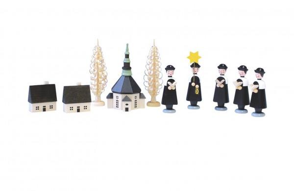 Knuth Neuber, Seiffener Kirche mit Kurrende und Spanbaum, 15 cm