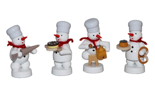 Schneemannquartett Weihnachtsbäckerei V, farbig von Volker Zenker aus Seiffen