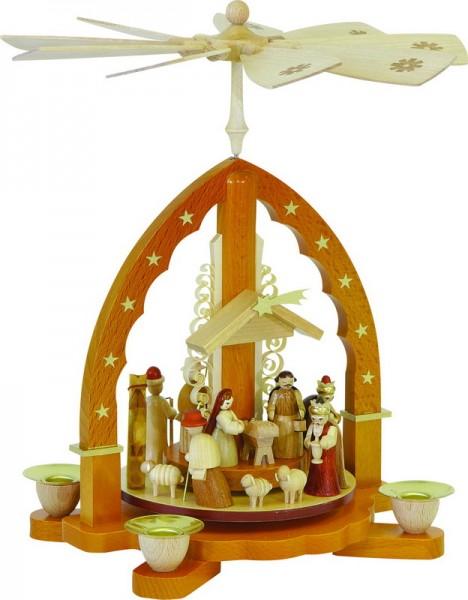 Weihnachtspyramide Christi Geburt, natur, 27 cm, Richard Glässer GmbH Seiffen/ Erzgebirge