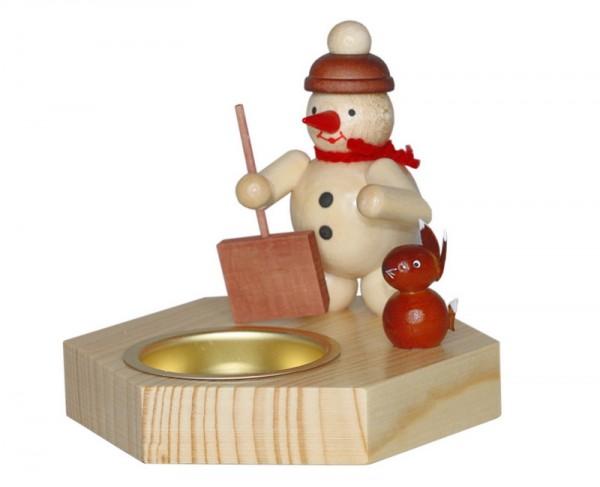 Weihnachtskerzenhalter Schneemann mit Schieber für Teelichter, natur, 8,5 cm, Volker Zenker Seiffen/ Erzgebirge