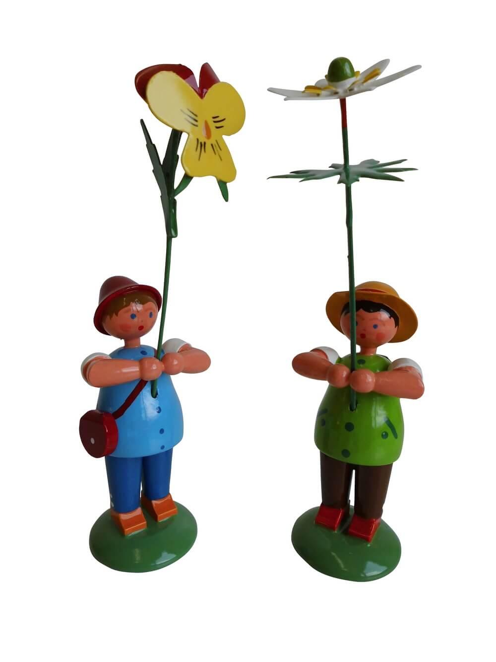Blumenkinder - Wiesenblumenjungen, 2 Stück, 12 cm von WEHA-Kunst Dippoldiswalde/ Erzgebirge