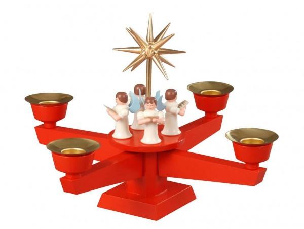 Albin Preißler Adventsleuchter mit 4 stehenden Weihnachtsengeln, rot