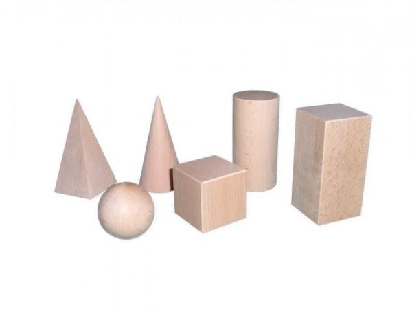 Geometrische Körper - Raumkörpersatz aus Holz 6 Teile Dieser Satz enthält einen Kegel, eine Pyramide, einen Zylinder, einen Quader, eine Kugel und einen …