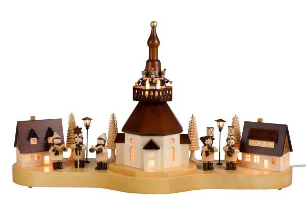 Sockelbrett von Nestler-Seiffen großes Seiffener Dorf mit Kinder, komplett elektrisch beleuchtet_Bild1