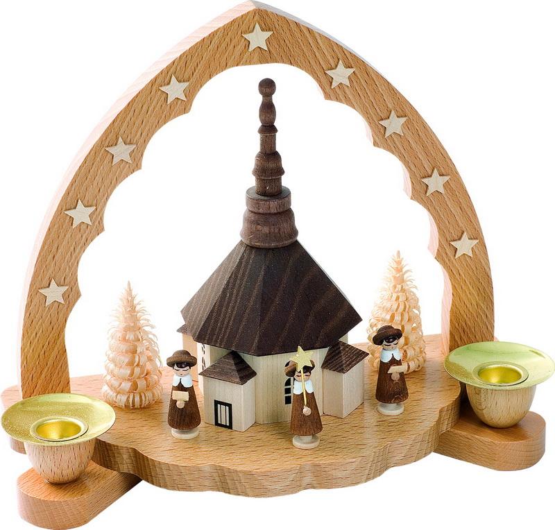 Weihnachtskerzenhalter Seiffener Kirche mit Kurrende, 16 cm, Richard Glässer GmbH Seiffen/ Erzgebirge