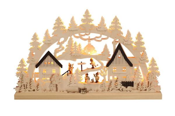 Schwibbogen Winterkinder, indirekte Beleuchtung, natur, 63 cm x 38 cm, Romy Thiel Deutschneudorf/ Erzgebirge