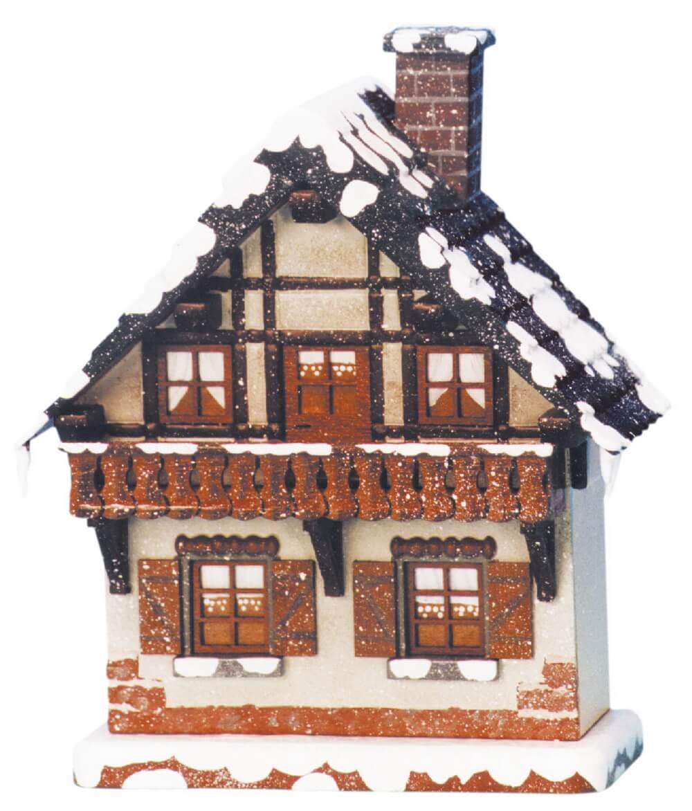 Lichterhaus aus Holz mit Balkon elektrisch beleuchtet von Hubrig