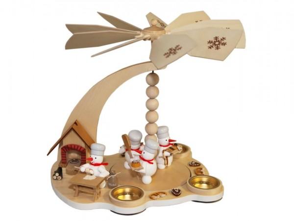 Schneemannpyramide Weihnachtsbäckerei, 27 cm von Volker Zenker aus Seiffen