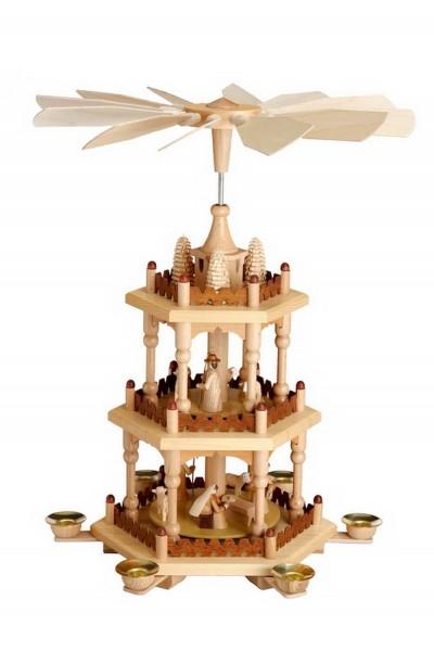 Weihnachtspyramide, 3 - stöckig mit Heiliger Familie, natur, 41 cm hergestellt von Theo Lorenz
