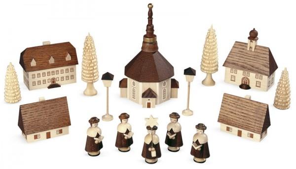 Kurrende mit Seiffener Kirche, natur, 12 cm, Müller GmbH Kleinkunst aus dem Erzgebirge