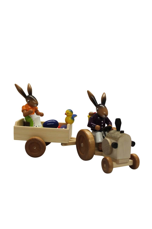 Osterhasentraktor mit Ostereiern 2 - teilig,Traktor mitVater undAnhänger mitMutter und Ostereiern, bunt, …