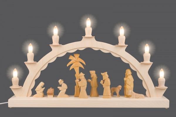 LED Schwibbogen mit geschnitzer Christi Geburt und Palme, natur, elektrisch beleuchtet, 50 x 28 cm, Ersatzkerzen: EL55LED, Nestler-Seiffen.com OHG Seiffen/ …